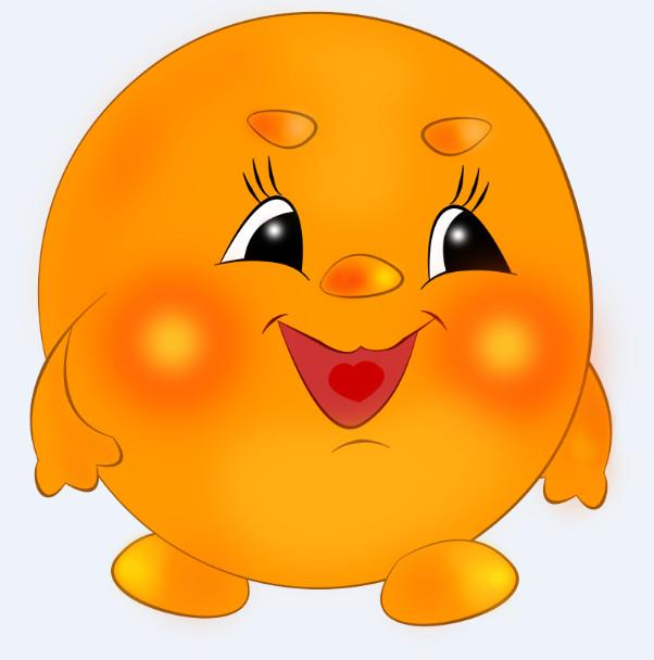 Оранжевый пухлый колобок